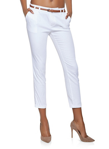 Belted Trousers,WHITE,large
