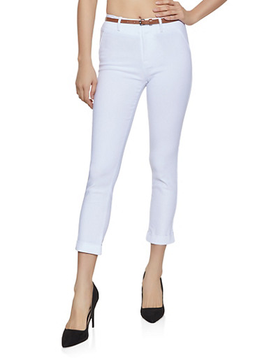 Fixed Cuff Stretch Dress Pants,WHITE,large