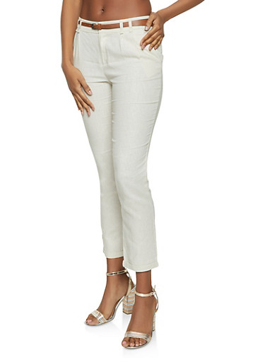 Belted Linen Pants,OATMEAL,large