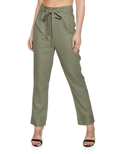Tie Paper Bag Waist Linen Trousers,OLIVE,large