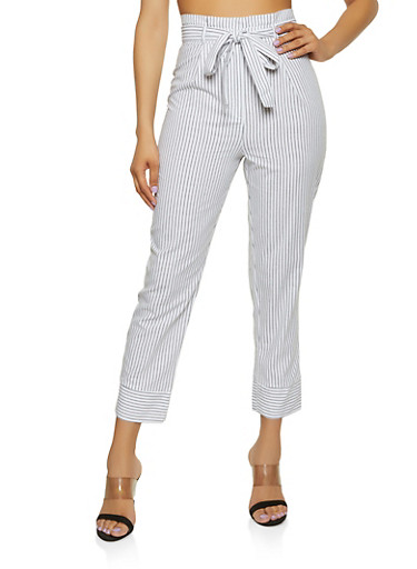 Striped Linen Tie Front Pants,WHT-BLK,large