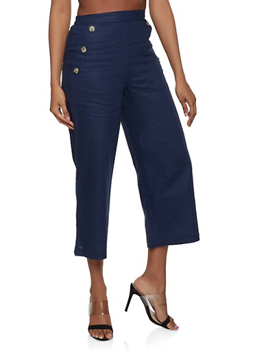 Button Pocket Linen Gaucho Pants,NAVY,large