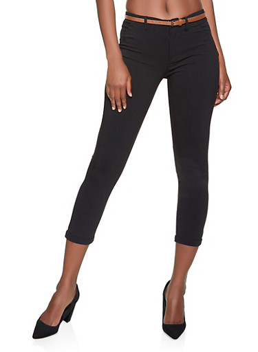 Fixed Cuff Belted Dress Pants,BLACK,large