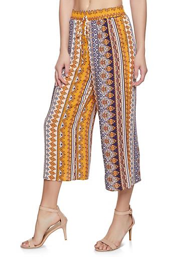 Printed Wide Leg Pants,MUSTARD,large
