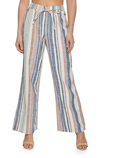 Multi Stripe Linen Pants,MULTI COLOR,large