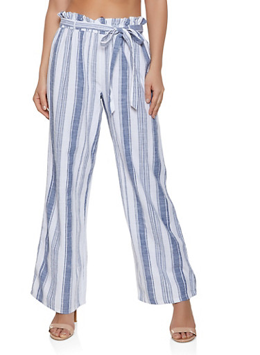Linen Paper Bag Waist Palazzo Pants | 1407056129304,BLUE,large