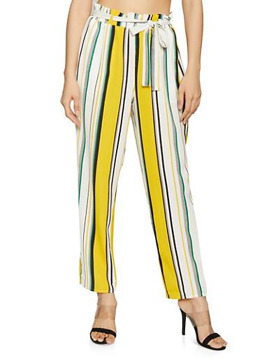 Striped Straight Leg Paper Bag Waist Pants,YELLOW,large