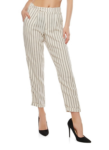 Striped Linen Pants,BLACK,large