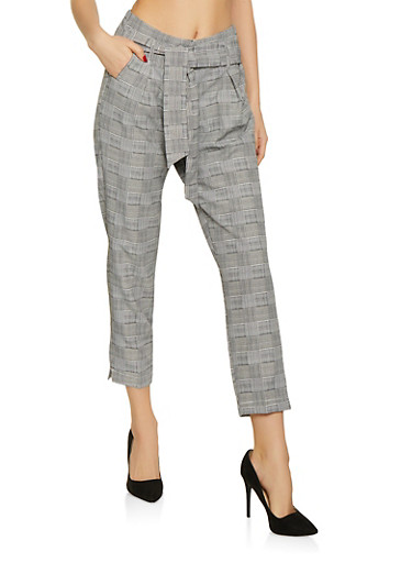 Plaid Tie Front Dress Pants,BLACK/WHITE,large