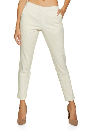 Pull On Pinstripe Linen Pants,OATMEAL,large