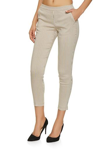 Pull On Striped Pants,KHAKI,large