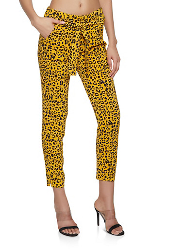 Leopard Print Tie Front Pants,MUSTARD,large