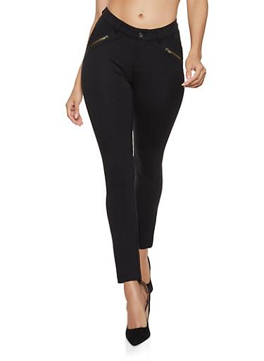 Ponte Knit Moto Pants,BLACK,large