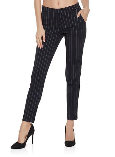 Pinstripe Pull On Pants,BLACK/WHITE,large