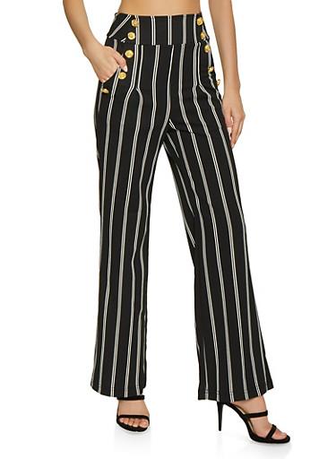 Striped Sailor Pants,BLACK/WHITE,large