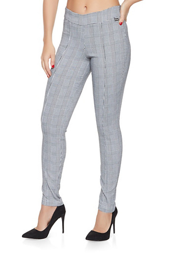 Plaid Pintuck Pull On Pants,BLACK/WHITE,large