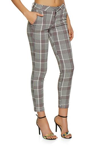 Plaid Trousers,WINE,large