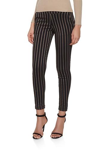 Striped Pull On Pants,BLACK,large