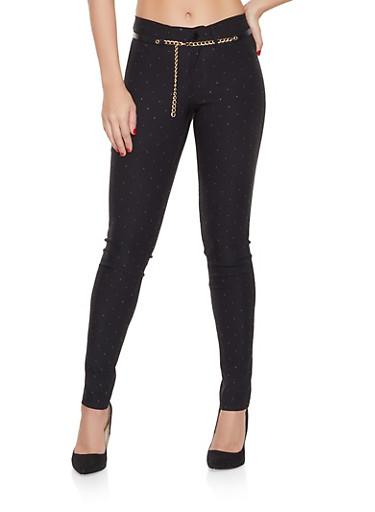 Belted Studded Pants,BLACK,large