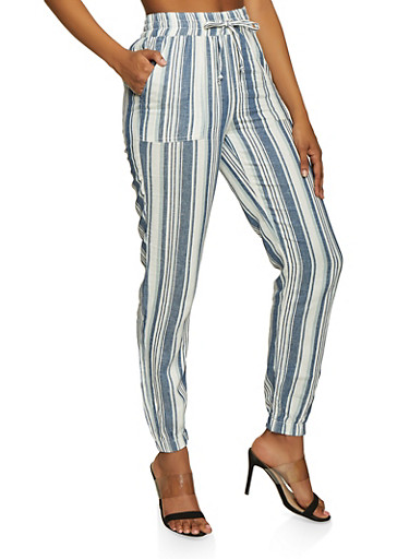 Striped Joggers,BLUE,large
