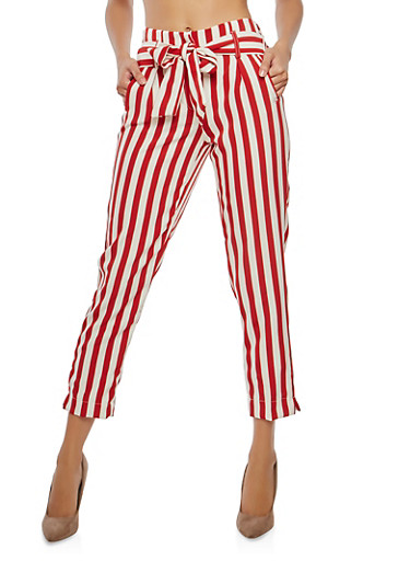 Striped Tie Waist Pants,RED,large