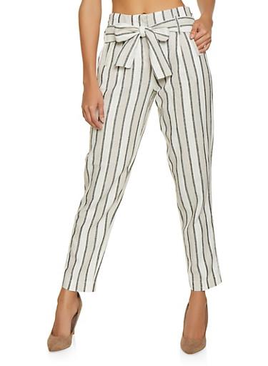 Striped Linen Pants,GRAY,large