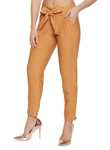Tie Waist Trousers,CAMEL,large