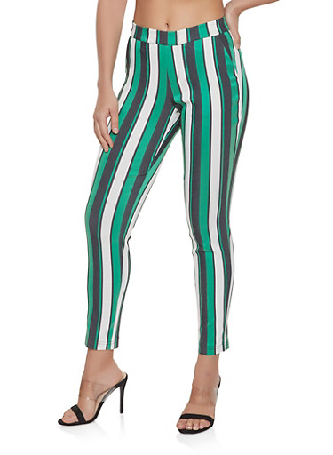 Pull On Striped Dress Pants,GREEN,large