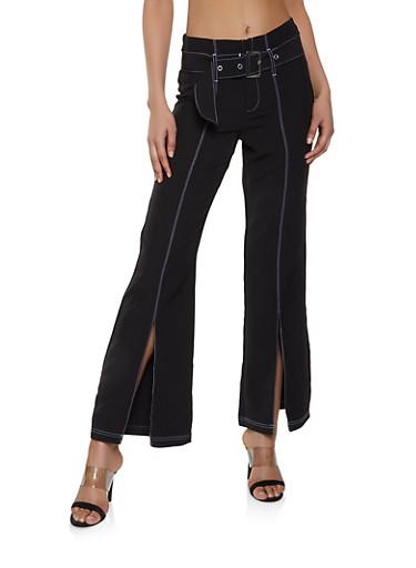 Belted Split Hem Flared Pants,BLACK,large