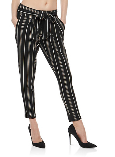 Printed Crepe Knit Pants,BLACK ROSE,large