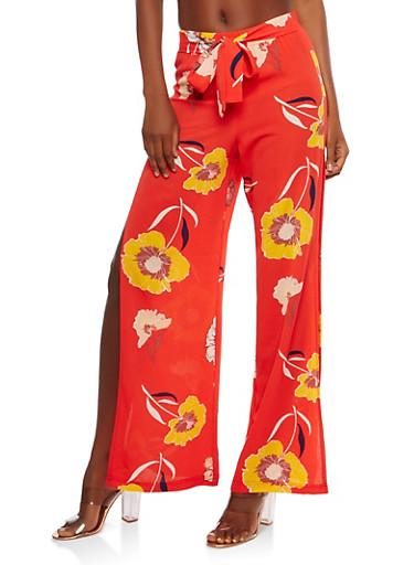 Printed Crepe Knit Palazzo Pants,RED,large