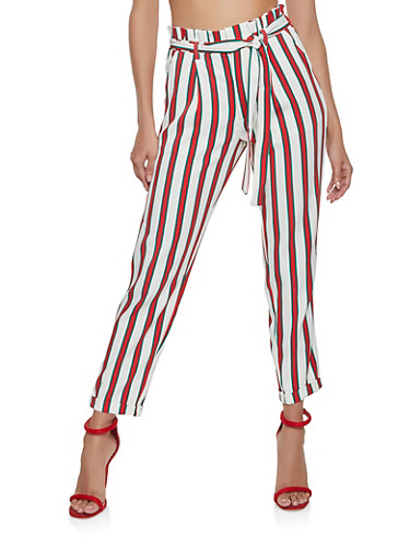 Striped Paper Bag Waist Pants,IVORY,large