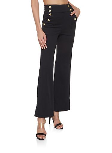 Flared High Waisted Sailor Pants,BLACK,large