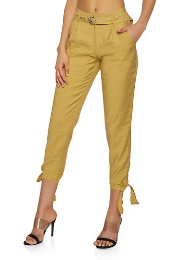 Belted Tie Hem Pants,BROWN,large