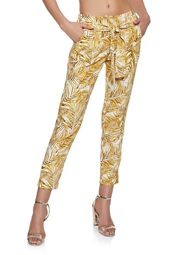 Printed Tie Front Pants,GOLD,large