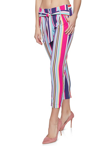 Striped Tie Front Pants,MULTI COLOR,large