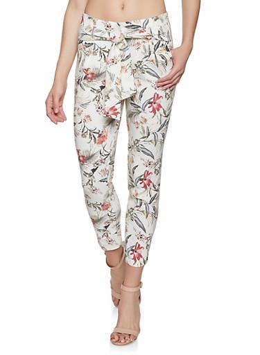 Floral Tie Front Pants,IVORY,large