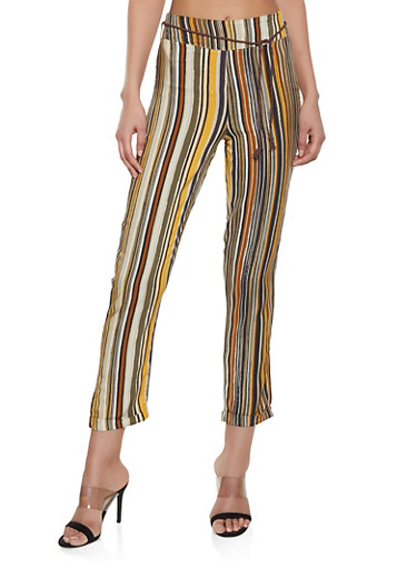 Multi Striped Pull On Pants,BROWN,large