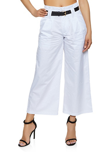 Belted Wide Leg Trousers | 1407056574538,WHITE,large