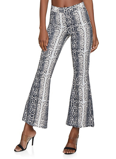 Flared Snake Print Pants,WHITE,large