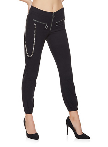 Chain Detail Hyperstretch Joggers,BLACK,large
