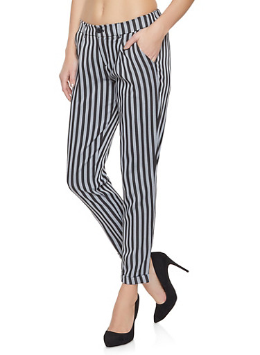 Pleated Striped Pants,BLACK,large