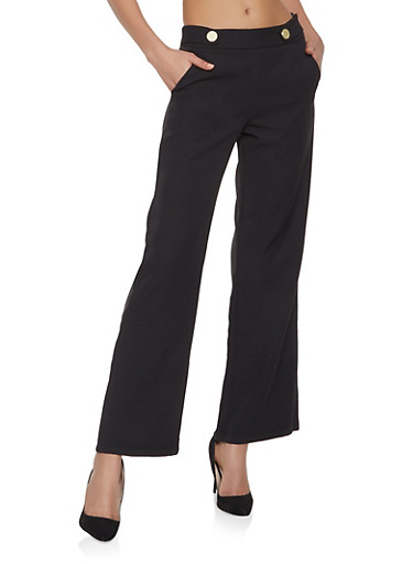 Tabbed Button Dress Pants,BLACK,large