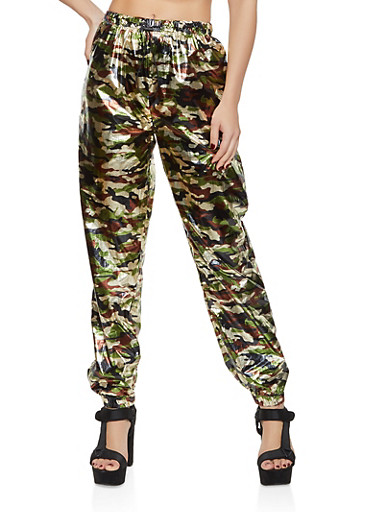 Camo Foiled Joggers,OLIVE,large