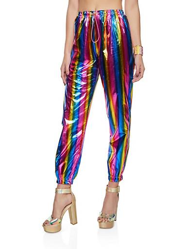 Foiled Rainbow Print Joggers,MULTI COLOR,large