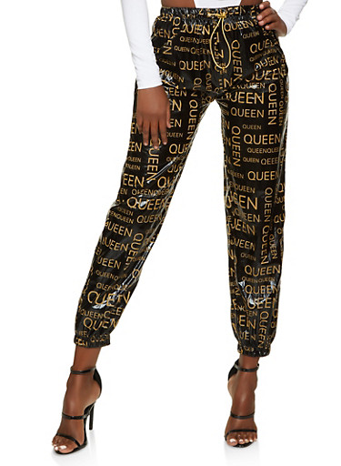 Queen Foiled Joggers,BLACK,large