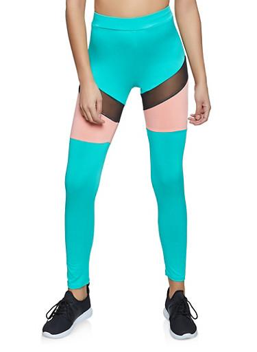 Mesh Insert Color Block Spandex Leggings,JADE,large