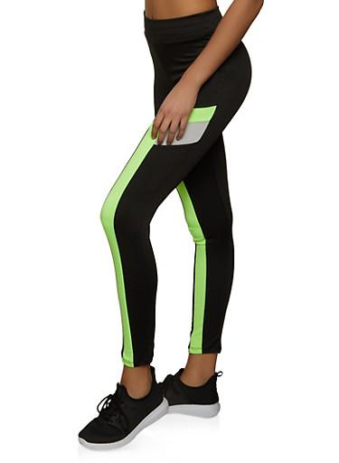 Color Block Spandex Leggings,BLACK,large