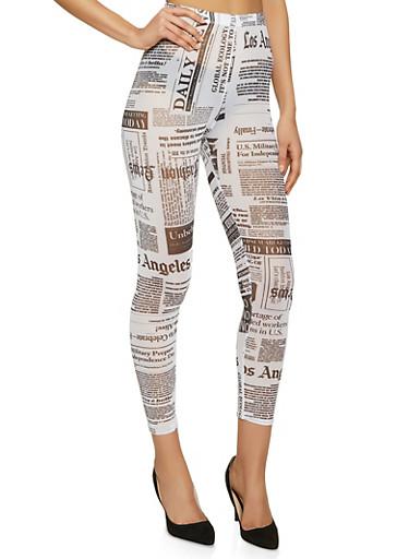 Mesh Newspaper Print Leggings,BLACK/WHITE,large