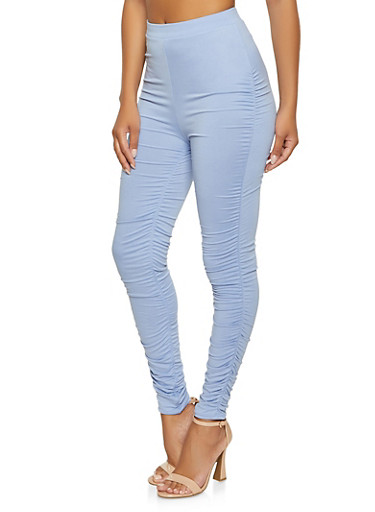 Solid Ruched Leg Pull On Pants,DENIM,large